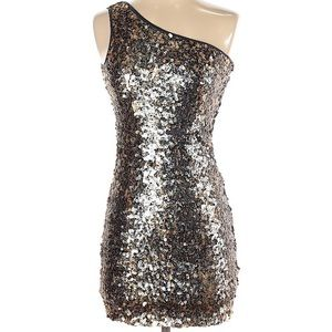 Aqua one shoulder sequin dress xs